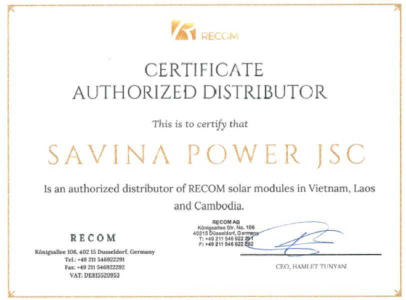 Chứng thư phân phối ủy quyền sản phẩm tấm Pin năng lượng mặt trời RECOM Đức